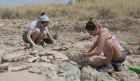Un equip d'arqueòlegs i voluntaris treballa al jaciment.