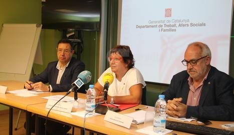 La consellera Dolors Bassa durant la roda de premsa d'aquest dimecres a Lleida.