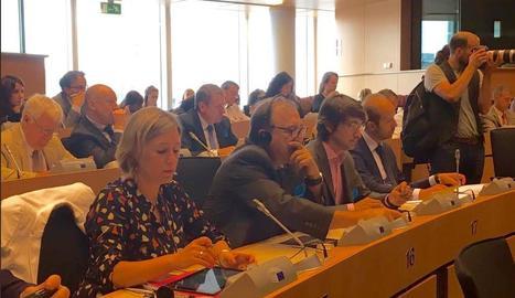 Carmel Mòdol i Manel Simon, dimarts a la reunió que es va celebrar a Brussel·les.