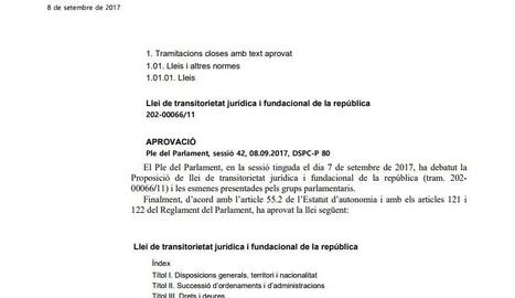 DOCUMENT. Llei de transitorietat jurídica i fundacional de la república