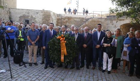 El conseller Turull entre el delegat del Govern a Lleida i l'lalcalde de Lleida