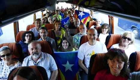 Lleidatans en autocar cap a la manifestació de Barcelona