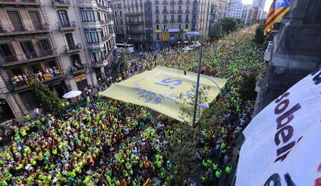 Una vista de la manifestació a Barcelona.