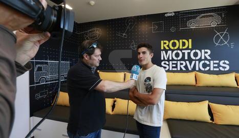 Marc Màrquez, aquest dimecres a les noves instal·lacions de Rodi a Lleida.