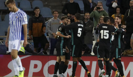 Borja Mayoral celebra el gol davant de la Reial Societat amb la resta dels companys.