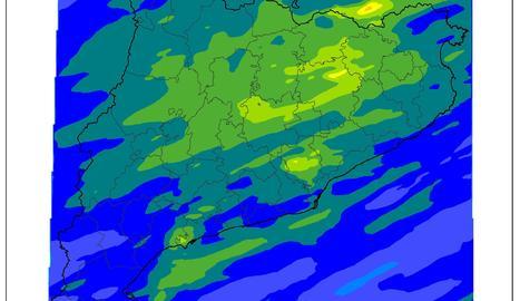 Estimació de precipitació acumulada entre els dies 14 i 15 de setembre.