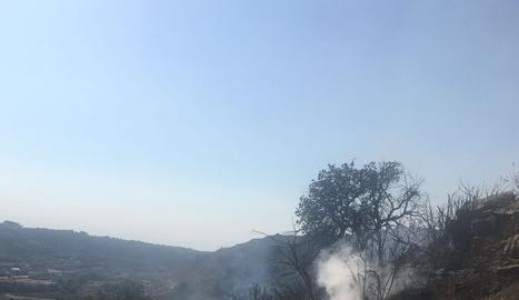 Una imatge de l'incendi a Guimerà.
