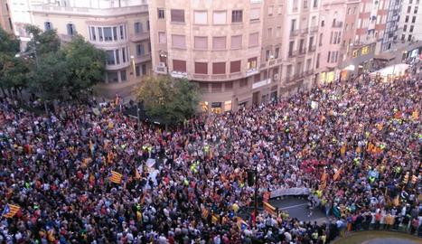 UNa vista de la manifestació a Lleida