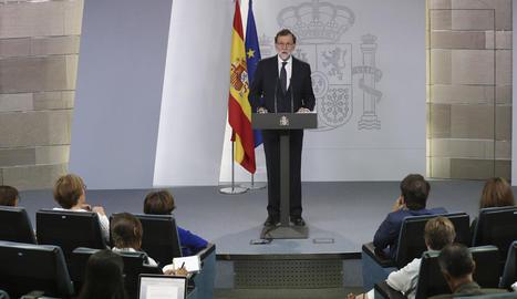 El president del Govern espanyol, Mariano Rajoy, ahir en la seua declaració institucional a la Moncloa.