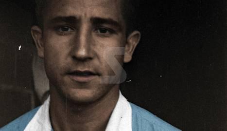 Banderí del Lleida del 1951.                                    Julio Remacha, jugador, el 1947.