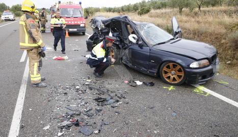Un dels dos vehicles implicats en l'accident.