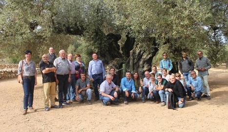 Membres de l'associació durant la visita a la Taula del Sénia.