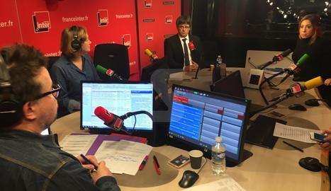 El president Puigdemont durant l'entrevista.