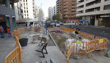 Estat actual de les obres a l'avinguda Catalunya.