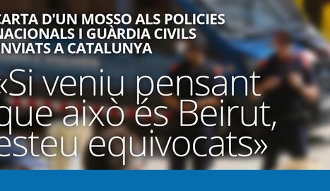 Carta d'un mosso als policies nacionals i guàrdia civils enviats a Catalunya