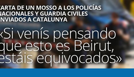 Carta de un mosso a los policías nacionales y guardia civiles enviados a Catalunya