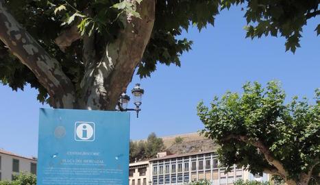Panell que es canviarà de la plaça Mercadal de Balaguer.