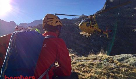 Efectius dels GRAE durant el rescat d'ahir a la Vall de Boí.