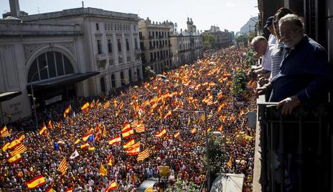 La manifestació va acabar davant l'Estació de França.