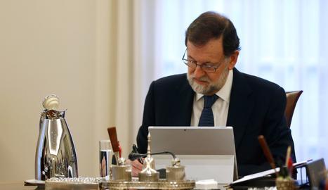 Rajoy, durant el consell de ministres.