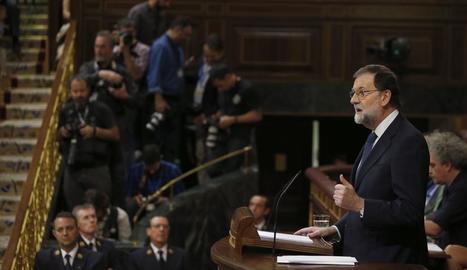El president del Govern central, Mariano Rajoy, durant la seua intervenció ahir al Congrés.