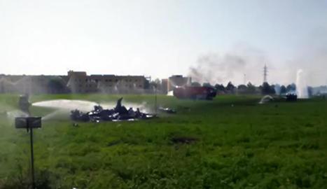 Imatge del lloc on es va estavellar el caça, accident en el qual va morir el pilot.