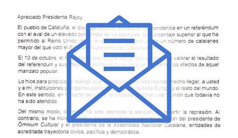 Aquesta és la carta que Puigdemont ha enviat a Rajoy