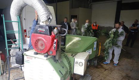 La màquina de triturar que van utilitzar al carrer Boqué de la Bordeta per destruir la marihuana