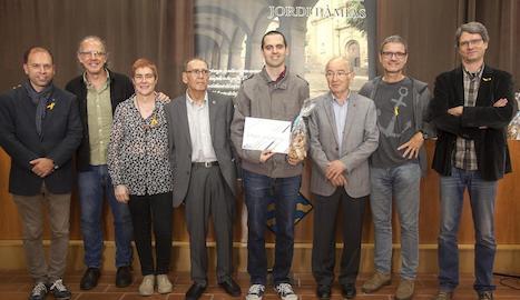 Acte d'entrega del novè premi Jordi Pàmias de poesia, ahir a l'ajuntament de Guissona.