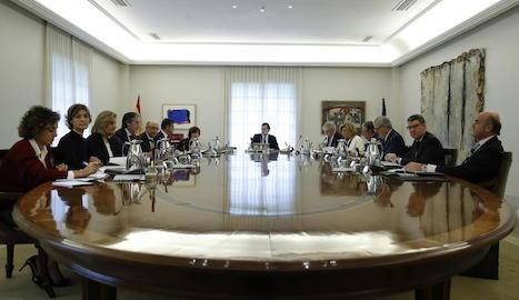 La reunió del Consell de Ministres que va acordar ahir la proposta d'aplicació del 155 per intervenir la Generalitat.