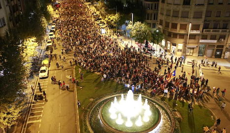 La manifestació va sortir de Ricard Viñes i va acabar al costat de la font de l'avinguda Catalunya, a la imatge.