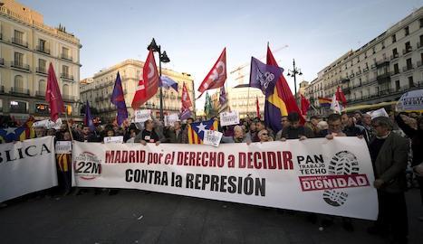 La protesta d'ahir a Madrid contra l'aplicació de l'article 155 a Catalunya.