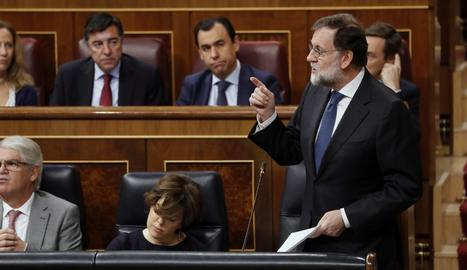 Mariano Rajoy, ahir, durant la sessió de control al Congrés.