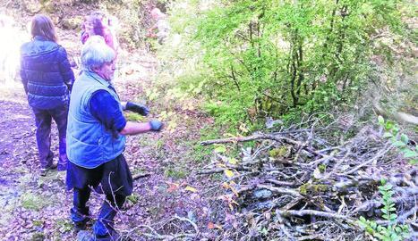 Voluntaris treballant al camí de Mont-rebei.