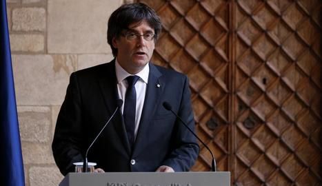 El presidente de la Generalitat, durante su intervención institucional de ayer.