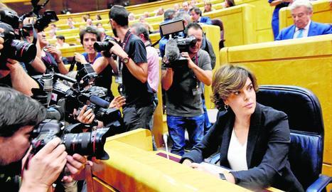 La vicepresidenta del Govern espanyol, Soraya Sáenz de Santamaría, al saló de plens del Senat.
