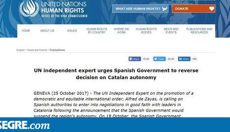 Un expert de l'ONU recomana retirar el 155, mediació internacional i un referèndum a Catalunya