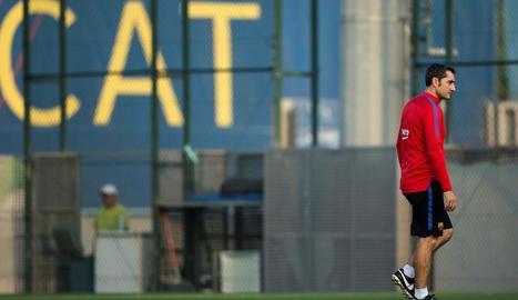 Ernesto Valverde, ahir a les instal·lacions del FC Barcelona.