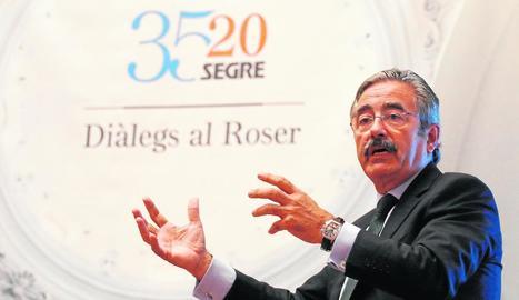 Kim Faura, director general de Telefónica a l'àrea del Mediterrani, va ser l'encarregat d'obrir els 'Diàlegs al Roser' de SEGRE.