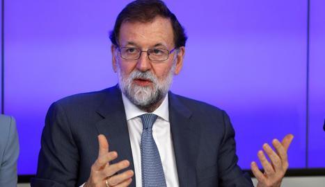 El president del Govern espanyol, Mariano Rajoy, en el comitè executiu del Partit Popular d'ahir.