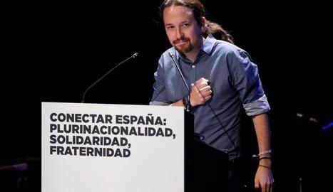 El secretari general de Podemos, Pablo Iglesias, en un acte del seu partit ahir.