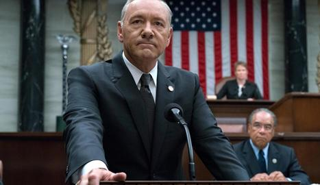 Kevin Spacey, caracteritzat com Frank Underwood a la sèrie 'House of Cards'.