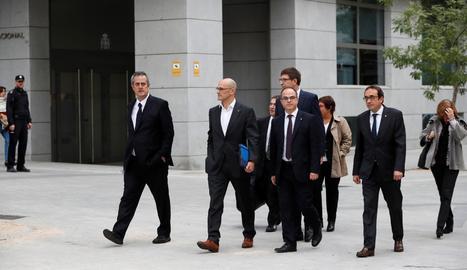 Membres del Govern arribant aquest matí a l'Audiència Nacional.