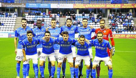 L'onze del Lleida Esportiu que dimecres va empatar al Camp d'Esports davant del filial del Vila-real.