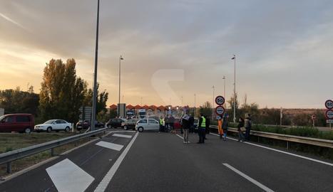 El tall del peatge de l'AP-2 a Lleida.