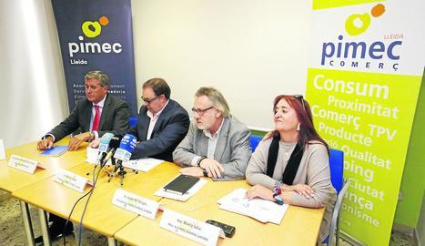 Els responsables de Pimec Lleida, Girona i l'empresa Recircula.