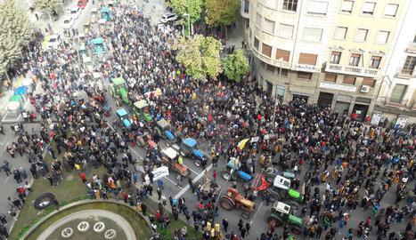 Una vista de la concentració d'aquest migdia a l'avinguda Catalunya de Lleida.