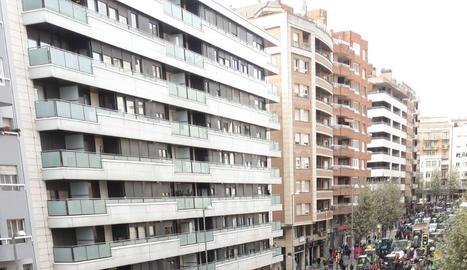 Concentració a l'avinguda Catalunya de Lleida.