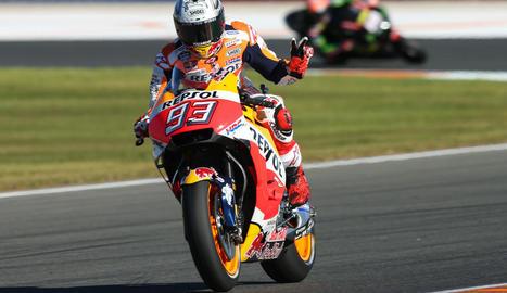 Marc es va mostrar còmode sobre la moto en la primera presa de contacte amb el traçat valencià.