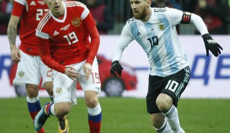 Messi ahir durant l'amistós que va jugar Argentina davant de Rússia.